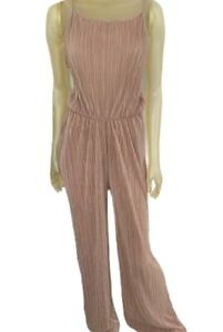 Pretty Little Thing Jumpsuit Womens Size UK14 PETITE Bronze Plisse Tie Back NEW