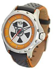 MINI Rotating Wheel Orange Dial Quartz Grey Leather Strap Mens Watch 161103 £179