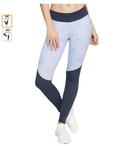 New Under Armour Womens Ribbed Trim Printed Athletic Leggings, Blue, Large