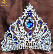 Awesome Brides Tiara Hair Jewelry Blue Crystal Crown Wedding Pageant Prom Party
