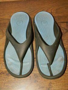 mens Crocs khaki slip on flip flop slides sandals us 11 uk  10 eur 45-46