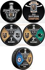 Vegas Golden Knights 2018 5 Hockey Puck PKG - Round 1 , 2 & Western Conference