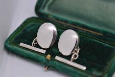 Argento Sterling, Ovale Catenina Gemelli Camicia con un Mirror Lucidato Finitura