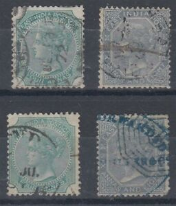 INDIA 1866 QV 4a & 6a8p PAIRS (x2) USED (ID:811/D61088)