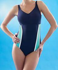Speedo Sculpture Swimsuit Tummy Control Premier Ultimate Blue White Wired Bra 36 D 14