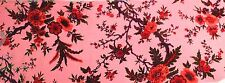 "100% SILK VELVET BURNOUT HOT PINK FLOWERS FABRIC 45"" WIDE BY THE YARD"