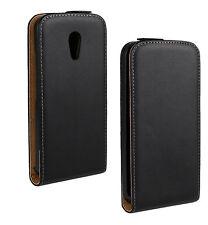 Black Genuine Real Leather Slim Flip Case Cover for Moto G 2nd Gen 2014 Xt1068