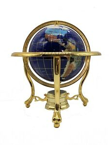 """10"""" Tall Blue Lapis Ocean Table Top Gemstone World Globe with Gold Tripod"""