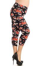 New Color B Plus Size Sexy Capri Multi Floral Print Leggings Curvy 1XL-3XL R609