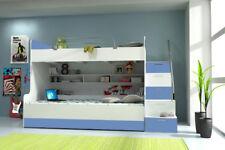 Doppelstockbett Etagenbett Bett Kinderbett Jugendbett Hochbett Neu Weiß/Blau