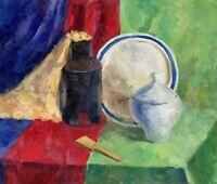 """Russischer Realist Expressionist Öl Leinwand """"Stillleben mit Zuckerdose"""" 56x48cm"""