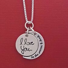 Sterling Silver I Love you to the Moon and Back Necklace Solid 925 Pendant Chain
