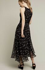 NWT Anthropologie Ranna Gill black Shirred Asymmetrical Midi Maxi Dress 6
