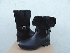 UGG PERNILLE BLACK LEATHER/ SUEDE WOOL LINED WINTER BOOTS, US 10/ EUR 41 ~NIB