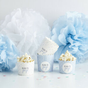10 BLUE BOY BABY SHOWER PARTY CUPS SWEETS CHOCOLATE POPCORN READY TO POP