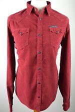 Trendy men's Diesel crimson red western cowboy corduroy long sleeved shirt XL