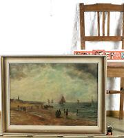 Julius Dielmann 1862-1931 Oil Painting Antique Marine Beach Sea Krabbenfischer