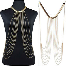 Gold Chain  Women Lady Layered Waist Bikini Beach Tassel Body Necklace Jewellery
