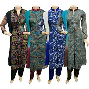 Pakistani Indian Printed Chiffon Suit, Casual Salwar Kameez Shalwar Stitched