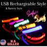 USB Rechargeable LED Collar Light up Dog Collar Night Safety Flashing Adjustable