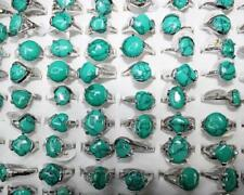 Newest Job Lots 10pcs Nature Blue Turquoise stone Charm Lady's ring Jewelry
