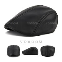 Genuine Leather Black Newsboy Gatsby Cabbie Flat Driver Ivy Ascot Hat Cap R03