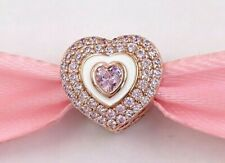 Genuine Pandora Rose Gold Pink Pave Heart Charm 788097NPR ALE R