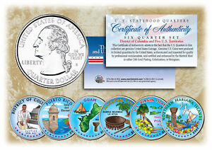 2009 DC & US TERRITORIES Quarters COLORIZED * 6-Coin Set * STATEHOOD w/Capsules