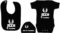 Jedi in Training Babygrow Romper Bodysuit Feeding Bib & Hat Cap 0-12m Star Wars