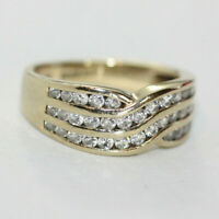 Vintage Women's 9K Solid Gold Radiant Clear CZ Channel Half Eternity Ring Sz 5