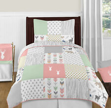 Sweet Jojo Coral Gray White Deer Animal Girl Children Room Teen Twin Bedding Set
