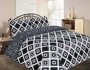 Easy Care White Grey Black Polycotton Duvet Quilt Cover Bed Set Double King