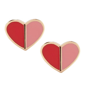 KATE SPADE Heritage Spade Heart Stud Earrings Pink Multi