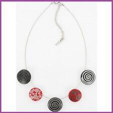 COLLIER fantaisie bijou PURE BY NOA émaillé à la main noir et rouge