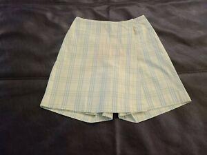 NWT Burberry Womens Golf Skirt/Skort Shorts Plaid Lt Yellow Nova Check US Sz 8