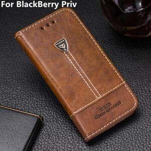 Phone Case Leather Flip Wallet Stand Holder Back Cover 5.4'' For BlackBerry Priv