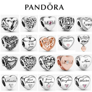 ALE S925 Genuine Silver Pandora Mum Family Heart Love Charm With Gift Box