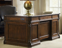 """72"""" Horchow Executive Leesburg Home Office Desk Antique Brown Dark Mahogany Wood"""