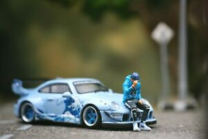 Miniature Figure JDM Cool Men Blue Suit 1/87 or 1/64 Diecast RWB Hotwheel