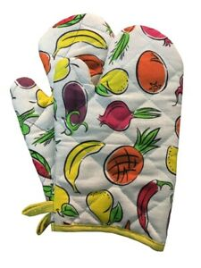 PAIR OF Oven Mitts Quilted Cotton Lining Heat Resistant  GARDEN & SUMMER