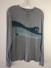 Disney Parks SURF Mickey Mouse Shirt Long Sleeve Knit Henley Gray Men's Small