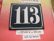 Hausnummer Nr. 113 weisse Zahl auf blauem Hintergrund 12 cm x 12 cm  Emaille