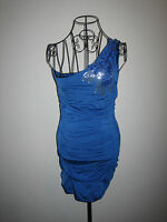 A LOVELY WOMENS DESIGNER JANE NORMAN BLUE WITH FLOWERS AND SEQUIN DRESS SIZE 12