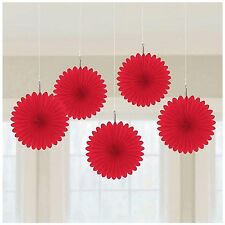 5 x red paper fans hanging decorations ruby wedding red colour theme Valentines