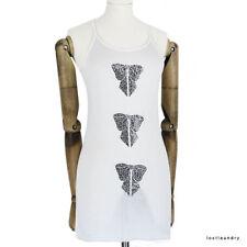 Thomas Wylde White Swarovski Crystal Bow Detailed Skinny Fit Tank Vest Top UK6