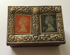 SILVER TOP BIRMINGHAM 1990 AND WOODEN STAMP BOX/HOLDER