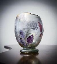 """Eisch Vase """"Poesie in Glas"""" 1986, signiert, Schmetterlinge, Schnecken, Kunstglas"""