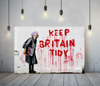 BANKSY KEEP BRITAIN TIDY -FRAMED CANVAS GRAFFITI WALL ART PICTURE PAPER PRINT-