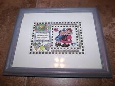 """Cute A TRUE FRIEND...HOLDS YOUR HEART Counted Cross Stitch in 10"""" x 12"""" Frame"""