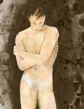 Painting, NUDE male, Cornwall II, 1/5/50 Watercolor Realism Signed FREE SHIP